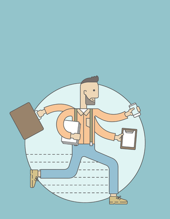 multiple ethnicities: A multitasking job is a man with many hands with successful planning elements, can handle many paper works. Time management concept. A Contemporary style with pastel palette, blue tinted background. Vector flat design illustration. Vertical layout with te