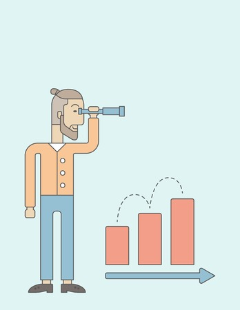 growing business: A Caucasian businessman standing using binocular to look over the graph that shows increasing in slaes. Growing business concept.  A contemporary style with pastel palette, soft blue tinted background. Vector flaty design illustration. Vertical layout wit