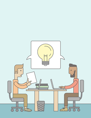 A Two caucasian businessmen sitting working together getting a brilliant ideas from internet using their laptop. A Contemporary style with pastel palette, soft blue tinted background. Vector flat design illustration. Vertical layout with text space on top Illustration