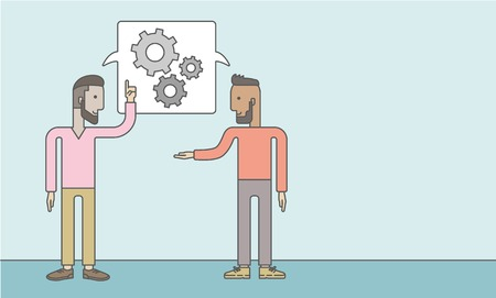 two men talking: Two men talking a new business in logistics. Brainstorming, speech bubble gears. Teamwork concept. A Contemporary style with pastel palette, soft blue tinted background. Vector flat design illustration. Horizontal layout with text space in right side.