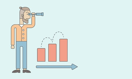 growing business: A Caucasian businessman standing using binocular to look over the graph that shows increasing in slaes. Growing business concept.  A contemporary style with pastel palette, soft blue tinted background. Vector flaty design illustration. Horizontal layout w