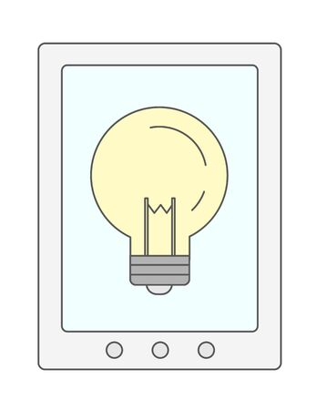 cellphone: A bulb in cellphone. A Contemporary style. Vector flat design illustration isolated white background. Vertical layout Illustration