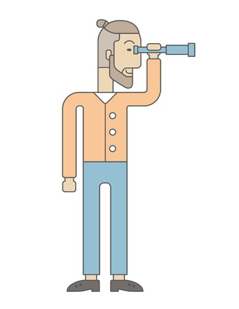 growing business: A Caucasian businessman standing using binocular to look over the graph that shows increasing in slaes. Growing business concept. A Contemporary style. Vector flat design illustration isolated white background. Vertical layout Illustration