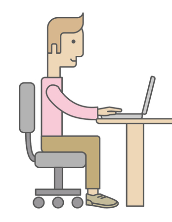 manager: A caucasian Businessman Working on Computer facing side view. A Contemporary style. Vector flat design illustration isolated white background. Vertical layout