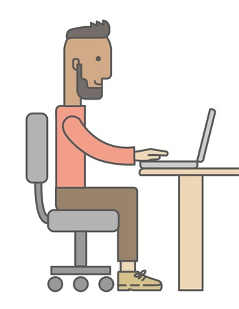 Young happy Caucasian man sitting infront of a table with computer laptop and thinking what to write in e-mail inside his office. A Contemporary style. Vector flat design illustration isolated white background. Vertical layout Ilustrace
