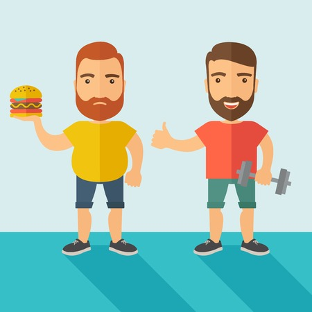 caucasian men: A two handsome caucasian men wearing shorts and sleeveless the yellow shirt with hamburger and the red shirt with dumbell. Contemporary style with pastel palette, soft blue tinted background. Vector flat design illustrations. Square layout.