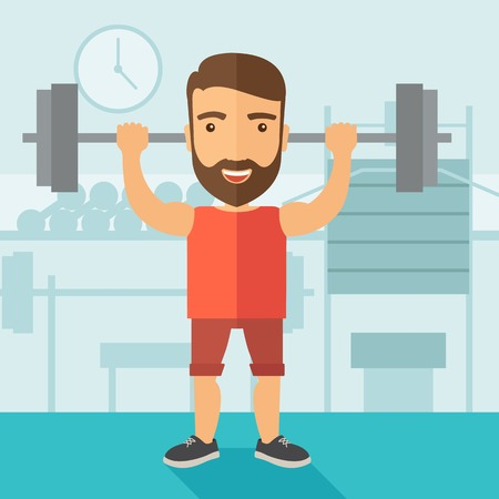 A handsome caucasian man lifting a barbell with fitness attire inside the gym. Contemporary style with pastel palette, soft blue tinted background. Vector flat design illustrations. Square layout.
