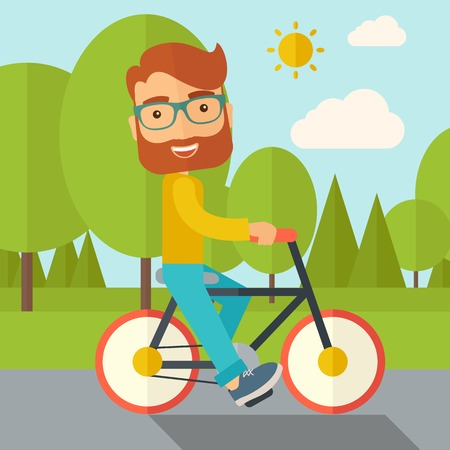 activity cartoon: A happy caucasian riding a bicycle under the sun. Contemporary style with pastel palette, soft blue tinted background with desaturated cloud. Vector flat design illustrations. Square layout.