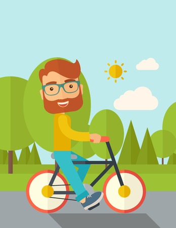 A happy caucasian riding a bicycle under the sun. Contemporary style with pastel palette, soft blue tinted background with desaturated cloud. Vector flat design illustrations. Vertical layout with text space on top part.