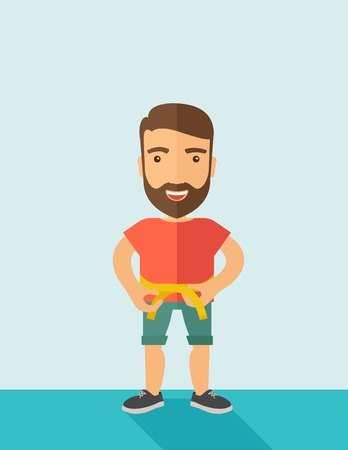 karate: A caucasian is practicing karate exercise without a karate costume. Contemporary style with pastel palette, soft blue tinted background. Vector flat design illustrations.  vertical layout with text space on top part. Illustration