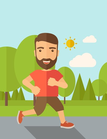 A confident hipster athlete getting ready fo a running race. Contemporary style with pastel palette, soft blue tinted background with desaturated cloud. Vector flat design illustrations. Vertical layout with text space on top part.
