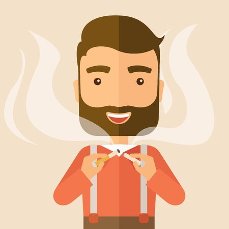 dangerous man: Stop smoking, human hands breaking the cigarette. Contemporary style with pastel palette, soft pink tinted background. Vector flat design illustrations. Square layout.