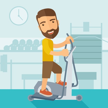 workout gym: A happy caucasian in gym sport workout exercises. Contemporary style with pastel palette, soft blue tinted background. Vector flat design illustrations. Square layout.