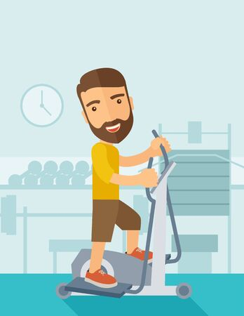 shoulder buttons: A happy caucasian in gym sport workout exercises. Contemporary style with pastel palette, soft blue tinted background. Vector flat design illustrations. Vertical layout with text space on top part.
