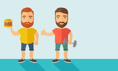 formalwear: A two handsome caucasian men wearing shorts and sleeveless the yellow shirt with hamburger and the red shirt with dumbell. Contemporary style with pastel palette, soft blue tinted background. Vector flat design illustrations. Horizontal layout with text s