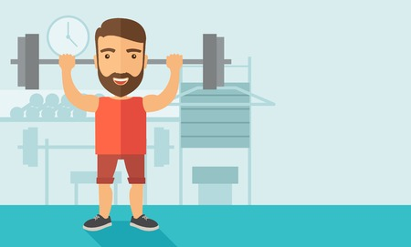 attire: A handsome caucasian man lifting a barbell with fitness attire inside the gym. Contemporary style with pastel palette, soft blue tinted background. Vector flat design illustrations. Horizontal layout.