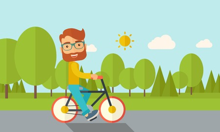 relaxation exercise: A happy caucasian riding a bicycle under the sun. Contemporary style with pastel palette, soft blue tinted background with desaturated cloud. Vector flat design illustrations. Horizontal layout.