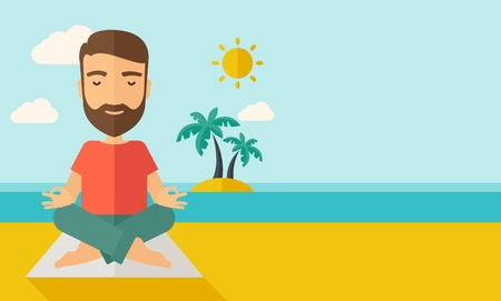 A hipster man doing yoga in the beach with his yoga pad under the sun.  Contemporary style with pastel palette, soft blue tinted background with desaturated cloud. Vector flat design illustrations. Horizontal layout with text space in right side. Illustration