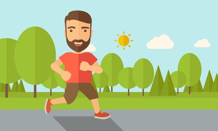 and the horizontal man: A confident hipster athlete getting ready fo a running race. Contemporary style with pastel palette, soft blue tinted background with desaturated cloud. Vector flat design illustrations. Horizontal layout.