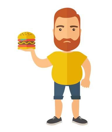 attire: A Hamburger holding by a man with fitness attire. A Contemporary style. Vector flat design illustration isolated white background. Vertical layout.