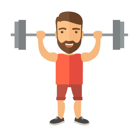 A handsome caucasian man lifting a barbell with fitness attire inside the gym. A Contemporary style. Vector flat design illustration isolated white background. Square layout Ilustração