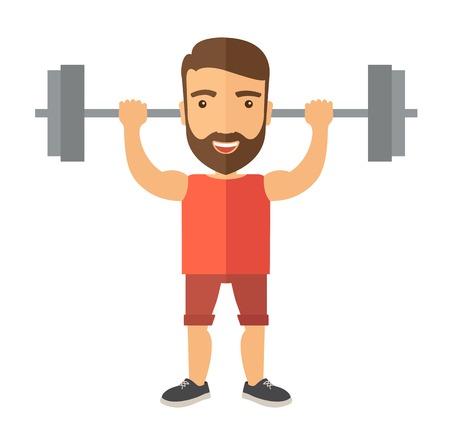 Un hombre caucásico hermoso levantar una barra con la aptitud atuendo dentro del gimnasio. Un estilo contemporáneo. Aislado Vector diseño plano ilustración de fondo blanco. Diseño Square