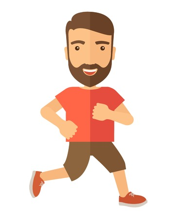 A confident hipster athlete getting ready fo a running race. . A Contemporary style. Vector flat design illustration isolated white background. Vertical layout.