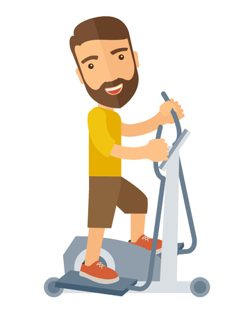 workout gym: A happy caucasian in gym sport workout exercises. A Contemporary style. Vector flat design illustration isolated white background. Vertical layout.