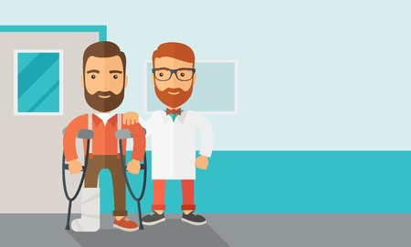 cartoon businessman: An injured man in crutches assisted by a doctor. Safety concept. Contemporary style with pastel palette, soft blue tinted background. Vector flat design illustrations. Horizontal layout with text space in right side.