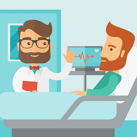 A medical caucasian patient being treated by an expert doctor in a hospital room. Contemporary style with pastel palette, soft blue tinted background. Vector flat design illustrations. Square layout.
