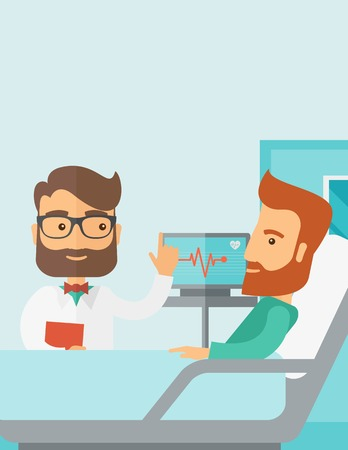 hospital cartoon: A medical caucasian patient being treated by an expert doctor in a hospital room. Contemporary style with pastel palette, soft blue tinted background. Vector flat design illustrations. Vertical layout with text space on top part. Illustration