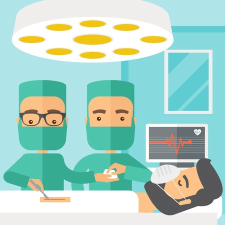 teamwork cartoon: A two surgeons looking over a lying patient in an operating room. Contemporary style with pastel palette, soft blue tinted background. Vector flat design illustrations. Square layout.