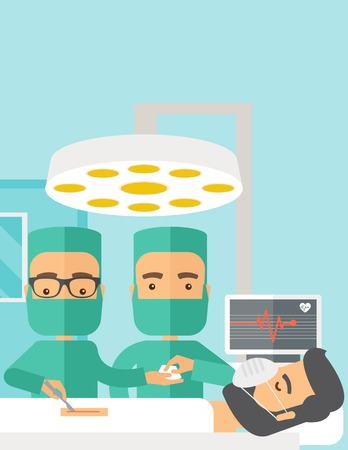 operating room: A two surgeons looking over a lying patient in an operating room. Contemporary style with pastel palette, soft blue tinted background. Vector flat design illustrations. Vertical layout with text space on top part. Illustration