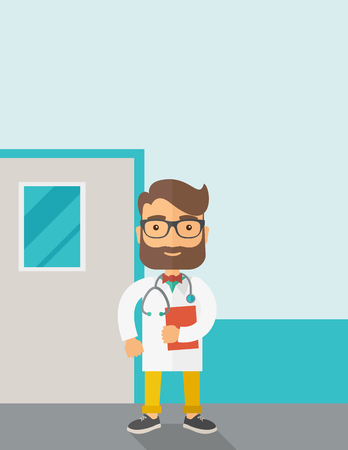 stethoscope boy: A Young male caucasian doctor standing beside the door with stethoscope and clipboard. Contemporary style with pastel palette, soft blue tinted background. Vector flat design illustrations. Vertical layout with text space on top part. Illustration