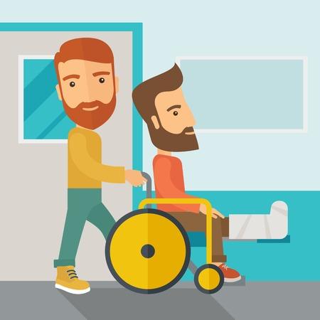 pierna rota: Un hombre cauc�sico que empuja la silla de ruedas con el paciente la pierna quebrada. Estilo contempor�neo con la paleta en colores pastel, fondo te�ido azul suave. Vector de dise�o plana ilustraciones. Dise�o Square.