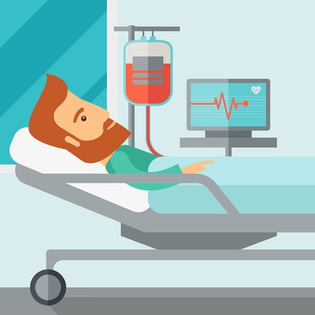 hospital cartoon: A caucasian patient in hospital bed in having a blood transfussion being monitored. Contemporary style with pastel palette, soft blue tinted background. Vector flat design illustrations. Square layout.