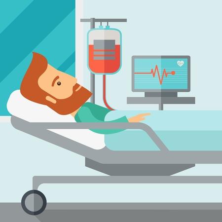 Een Kaukasische patiënt in het ziekenhuis bed in het hebben van een bloed transfussion wordt gecontroleerd. Hedendaagse stijl met pastel palet, zachte blauwe getinte achtergrond. Vector plat ontwerp illustraties. Vierkante indeling.