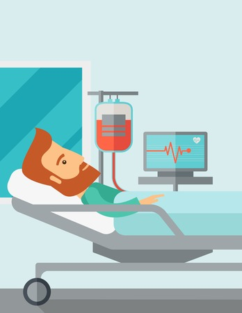 hospital cartoon: A caucasian patient in hospital bed in having a blood transfussion being monitored. Contemporary style with pastel palette, soft blue tinted background. Vector flat design illustrations. Vertical layout with text space on top part.
