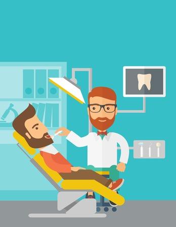 Un hombre caucásico dentista examina a un paciente los dientes en la clínica. Estilo contemporáneo con la paleta de colores pastel, azul tintado. Vector de diseño plana ilustraciones. Diseño vertical con espacio de texto en la parte superior.