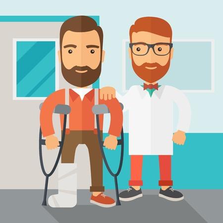 dolore ai piedi: Un uomo ferito in stampelle assistiti da un medico. Concetto di sicurezza. Stile contemporaneo con palette pastello, morbido sfondo blu tinta. Vector design piatto illustrazioni. Pianta quadrata.