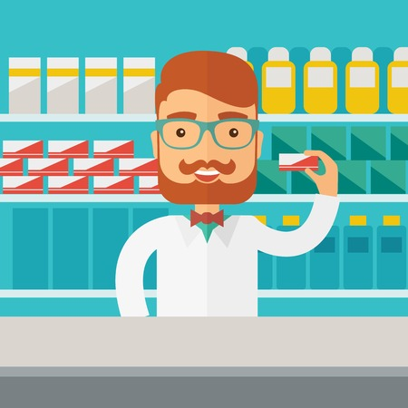 chemist: A Young  pharmacy chemist man standing in drugstore. Contemporary style with pastel palette, blue tinted background. Vector flat design illustrations. Square layout. Illustration