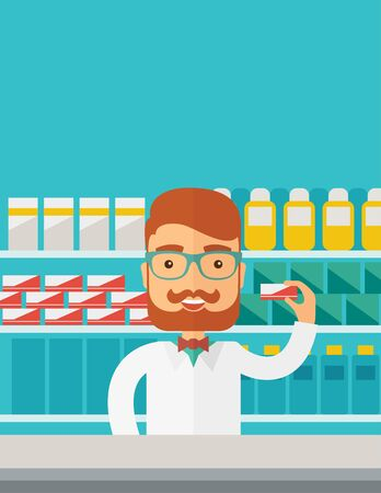 ドラッグ ストアに立っている若い薬学化学者男パステル カラーの