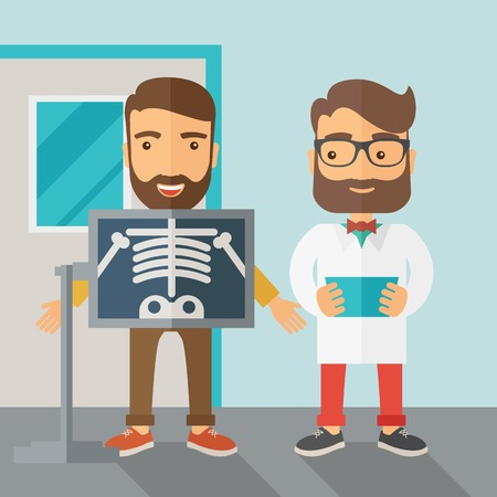 man holding transparent: A view of man is holding a X-ray picture.  Contemporary style with pastel palette, soft blue tinted background. Vector flat design illustrations. Square layout. Illustration