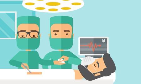 operating room: A dos cirujanos mirando por encima de un paciente tumbado en un quir�fano. Estilo contempor�neo con la paleta en colores pastel, fondo te�ido azul suave. Vector de dise�o plana ilustraciones. Dise�o horizontal con sapce texto en el lado superior derecho.