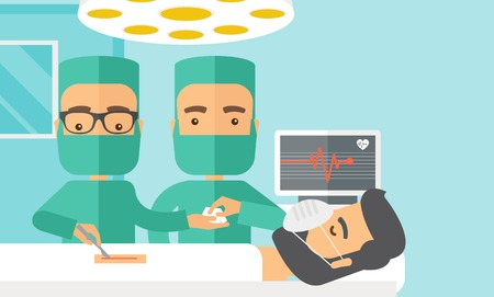 operating room: A two surgeons looking over a lying patient in an operating room. Contemporary style with pastel palette, soft blue tinted background. Vector flat design illustrations. Horizontal layout with text sapce on top right side.