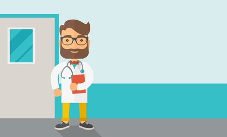 stethoscope boy: A Young male caucasian doctor standing beside the door with stethoscope and clipboard. Contemporary style with pastel palette, soft blue tinted background. Vector flat design illustrations. Horizontla layout with text sapce in right side. Illustration