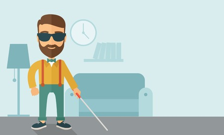 inside house: A blind caucasian with walking stick inside the house. Contemporary style with pastel palette, soft blue tinted background. Vector flat design illustrations. Horizontal layout with text space in right side.
