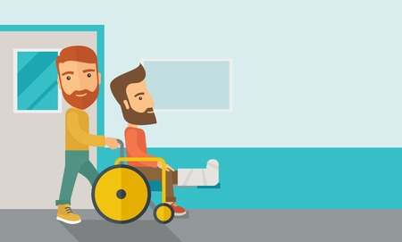 healing: A caucasian man pushing the wheelchair with broken leg patient. Contemporary style with pastel palette, soft blue tinted background. Vector flat design illustrations. Horizontal layout with text space in right side.