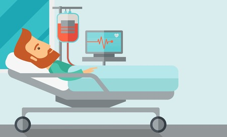 surgery stretcher: A caucasian patient in hospital bed in having a blood transfussion being monitored. Contemporary style with pastel palette, soft blue tinted background. Vector flat design illustrations. Horizontal layout with text space in right side. Illustration