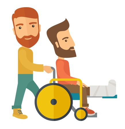 A caucasian man pushing the wheelchair with broken leg patient.  A Contemporary style. Vector flat design illustration isolated white background. Square layout.